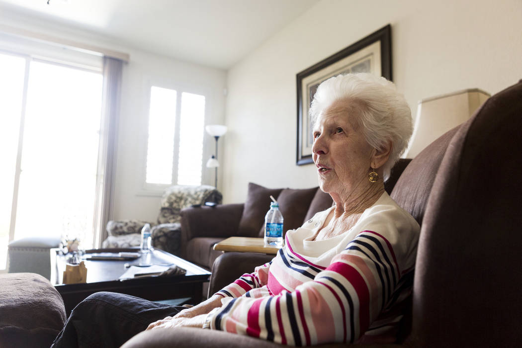 Mary Jones, 88, in her home in Las Vegas, Tuesday, Aug. 1, 2017. Jones is a client of a non-medicinal care, Golden Heart Senior Care, where she has a physical care attendant five days a week for a ...
