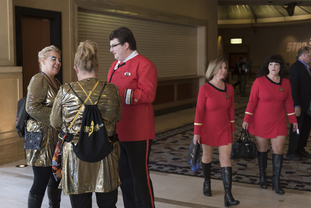 Sue Stoffel, left, Gina O'Dodd, center, and Tyler Prazak talk in the hallway during the Star Trek Las Vegas convention at the Rio hotel-casino Friday, Aug. 5, 2016. Jason Ogulnik/Las Vegas Review- ...