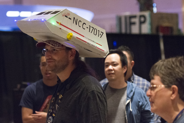 Teale Phelps Bondaroff wears a shuttlecraft hat during the Star Trek Las Vegas convention at the Rio hotel-casino Friday, Aug. 5, 2016.  (Jason Ogulnik/Las Vegas Review-Journal)