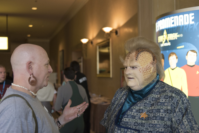 "Daniel Digiorgio, cosplaying as ""Neelix,"" right, talks with Star Trek fan during the Star Trek Las Vegas convention at the Rio hotel-casino Friday, Aug. 5, 2016.  (Jason Ogulnik/Las Vegas Review-J ..."