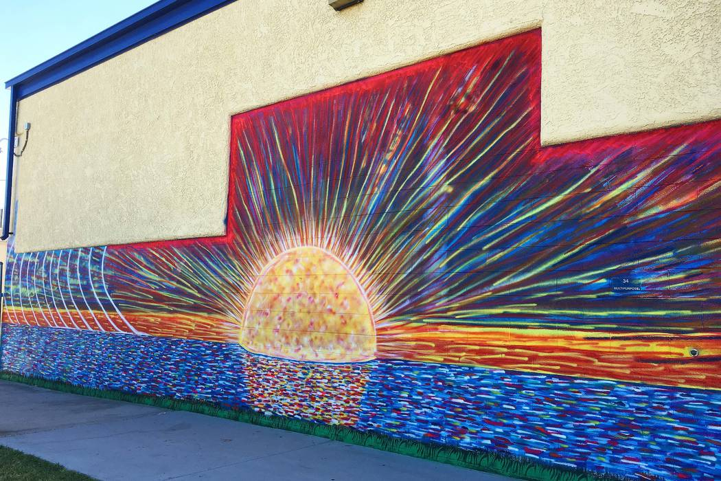 A mural by Justin Lepper, First Friday's featured artist for August, who will be live painting during the downtown arts district event, which runs from 5-11 p.m.  (First Friday Foundation)