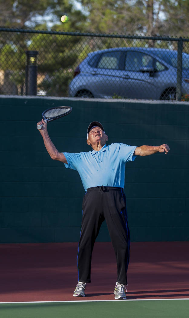 Dr. Len Kreisler, 87, practices his serve at the Mountain Shadows Community Center in Summerlin on Monday, July 31, 2017. (Patrick Connolly/Las Vegas Review-Journal) @PConnPie