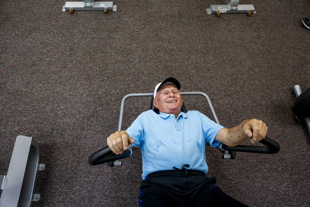 Dr. Len Kreisler, 87, exercises on his usual machine at the Mountain Shadows Community Center in Summerlin on Monday, July 31, 2017. (Patrick Connolly/Las Vegas Review-Journal) @PConnPie