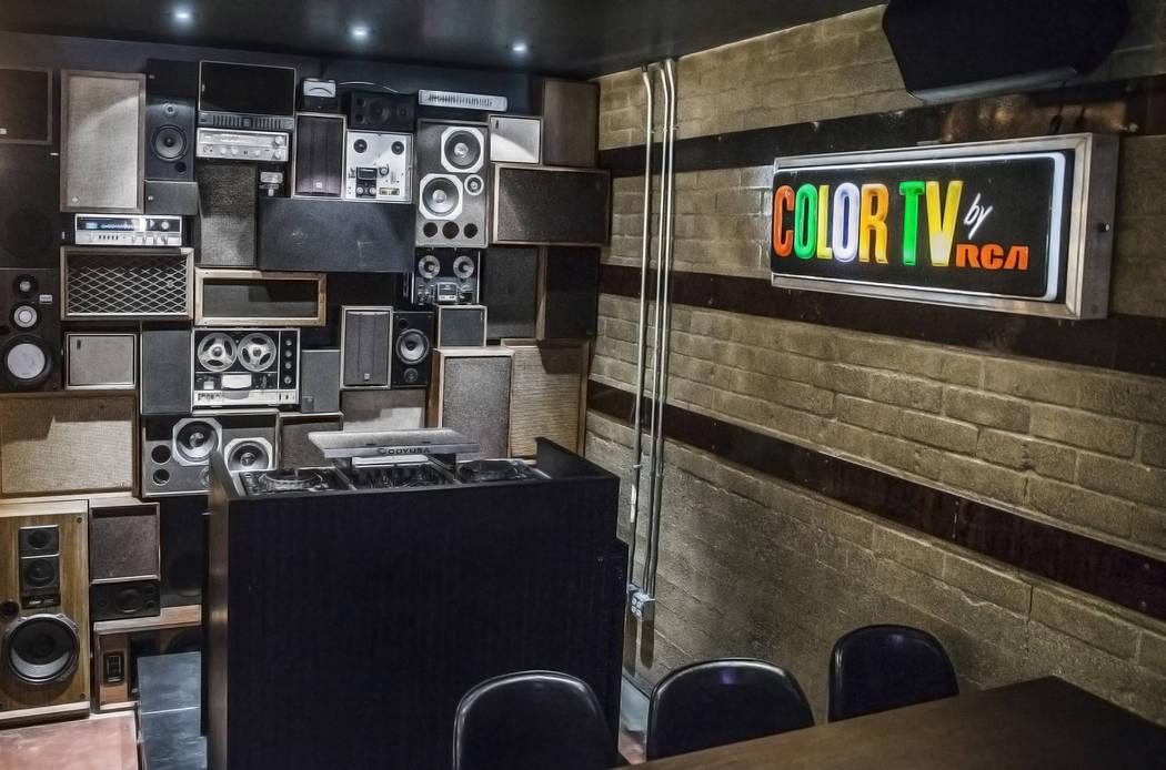 The vintage, locally sourced speaker wall on Wednesday, Aug 2, 2017, at Corduroy, in Las Vegas. (Benjamin Hager/Las Vegas Review-Journal) @benjaminhphoto