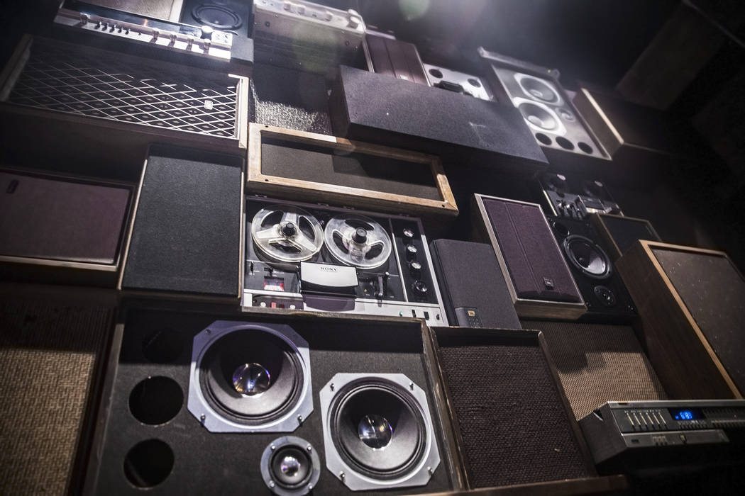The vintage, locally sourced speaker wall on Wednesday, Aug 2, 2017, at Corduroy, in Las Vegas. (Benjamin Hager/Las Vegas Review-Journal) @benjaminhphoto