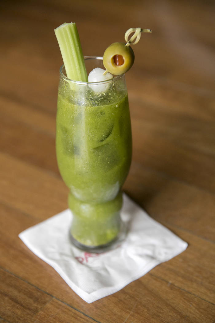 Abe's Favorite Mary, a green Bloody Mary made with tomatillos, jalapeos, garlic and lime, is available at The Palms Resort's Lucky Penny Cafe in Las Vegas, NV. Gabriella Angotti-Jones Las Vegas Re ...