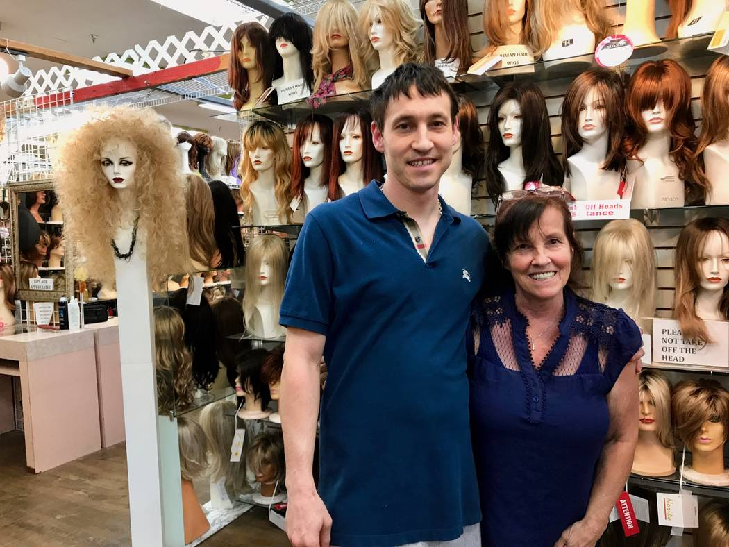 Susan Schneider and son Brandon Dillard at Vegas Girl Wigs. Schneider has been at the swap meet for 27 years. (Madelyn Reese/View) @MadelynGReese