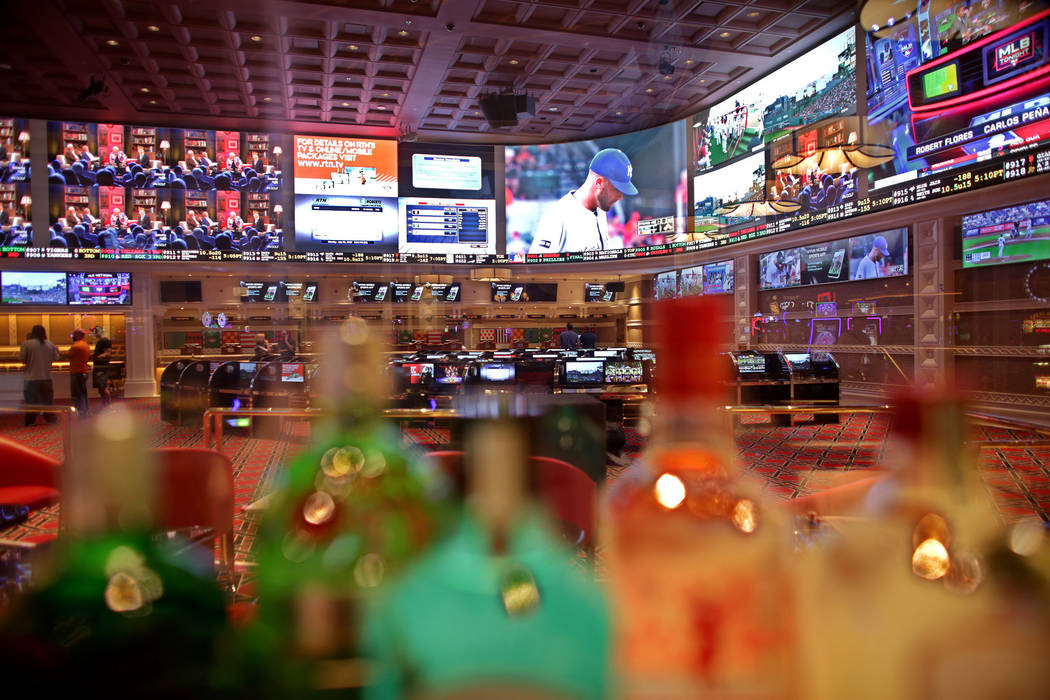 The new race and sports book seen through the back of the new bar at the Wynn on Monday, July 31, 2017, in Las Vegas. There are new screens, seats and carpet. Rachel Aston Las Vegas Review-Journal ...