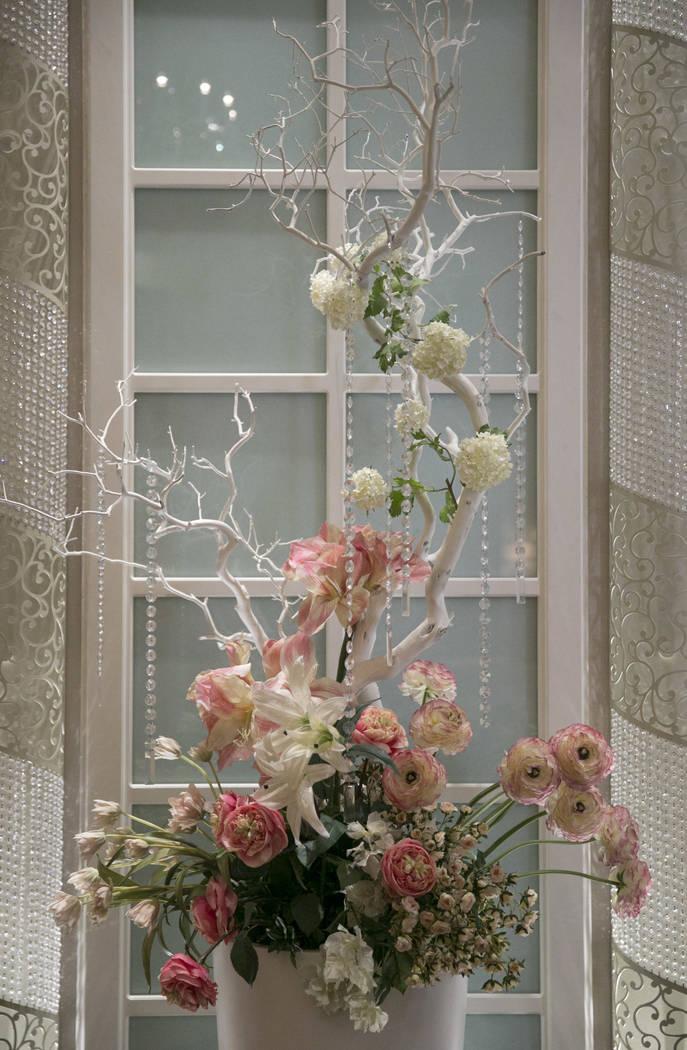 A flower bouquet sits in the Garden Wedding Chapel at The Flamingo Hotel & Casino in Las Vegas, Thursday, Aug. 3, 2017.  Gabriella Angotti-Jones Las Vegas Review-Journal @gabriellaangojo