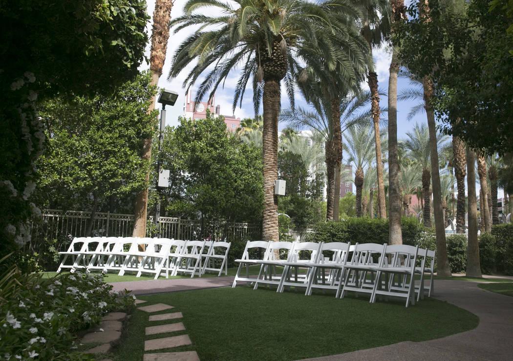 The Gazebo, where outdoor wedding services are held, at the Garden Wedding Chapel at The Flamingo Hotel & Casino in Las Vegas, Thursday, Aug. 3, 2017.  Gabriella Angotti-Jones Las Vegas Review ...