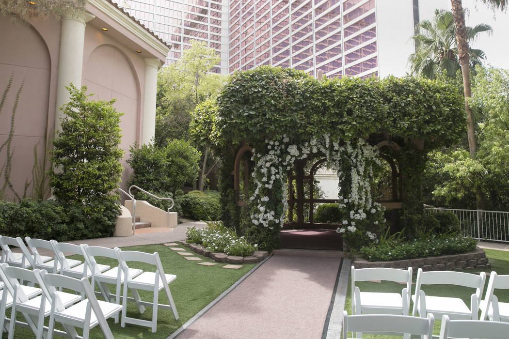 The Gazebo, where outdoor wedding services are held, at the Garden Wedding Chapel at The Flamingo Hotel & Casino in Las Vegas, Thursday, Aug. 3, 2017.  Gabriella Angotti-Jones Las Vegas Review ...