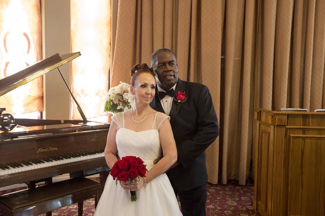 Patricia Robinson and Aubrey Robinson pose of a photo after renewing their vows at Vegas Weddings in Las Vegas on Saturday, Aug. 12, 2017. Bridget Bennett Las Vegas Review-Journal @bridgetkbennett
