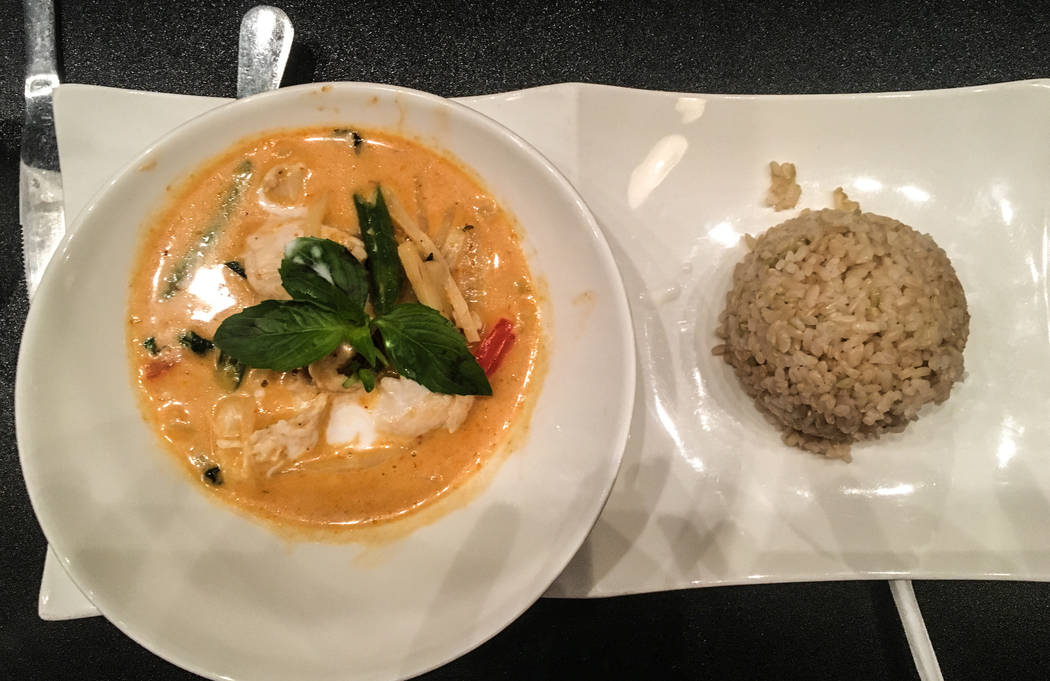 The red curry is made up of green beans, bell pepper, bamboo shoots and basil for $12. A side of white or brown rice is also available. (Alex Meyer/View) @alxmey
