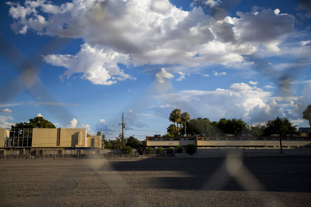 The lot where The Clarion Hotel and Casino once stood on Convention Center Drive in Las Vegas on Wednesday, Aug. 2, 2017. Chase Stevens Las Vegas Review-Journal @csstevensphoto