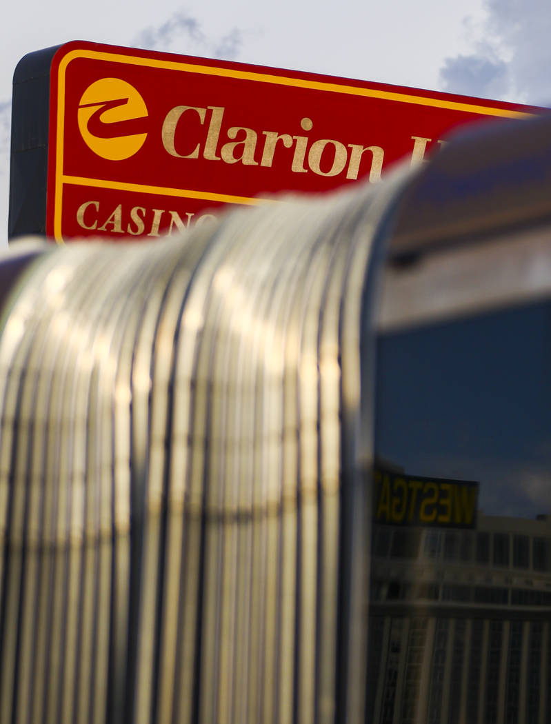 Traffic passes by the lot where The Clarion Hotel and Casino once stood on Convention Center Drive in Las Vegas on Wednesday, Aug. 2, 2017. Chase Stevens Las Vegas Review-Journal @csstevensphoto