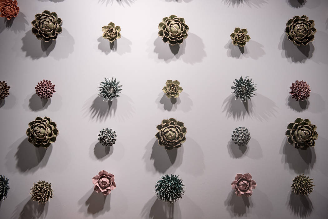 Decorative succulents line an exhibitor wall at Las Vegas Market at World Market Center on Tuesday, August 1, 2017, in Las Vegas. Morgan Lieberman Las Vegas Review-Journal