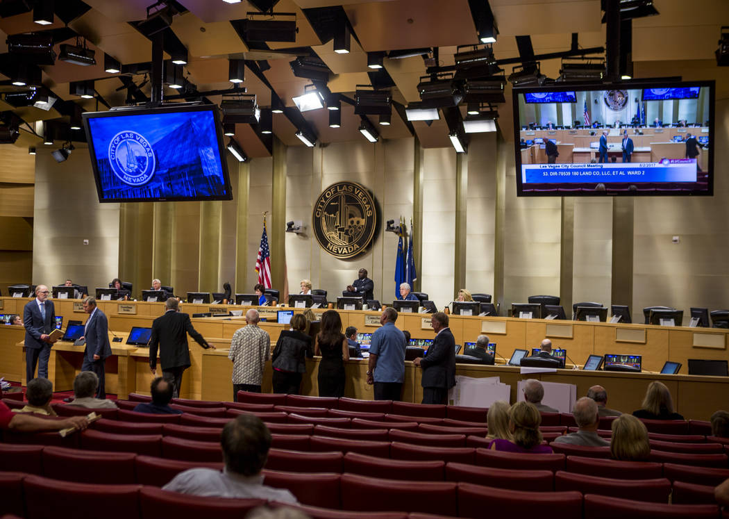 People line up to voice their opinions about the Badlands golf course proposal during public comment at a City Council meeting at Las Vegas City Hall on Wednesday, August 2, 2017.  Patrick Connoll ...