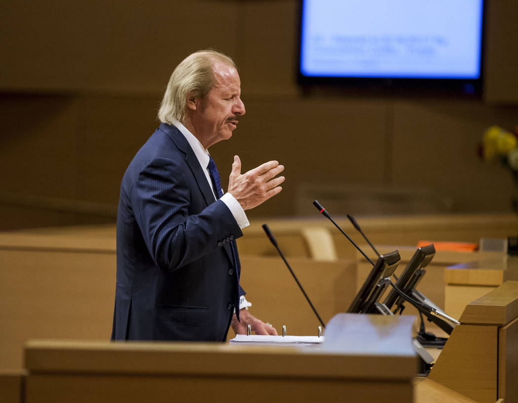 Attorney Jim Jimmerson speaks on behalf of his clients, the developers with EHB Cos., about the Badlands golf course development during public comment at a City Council meeting at Las Vegas City H ...