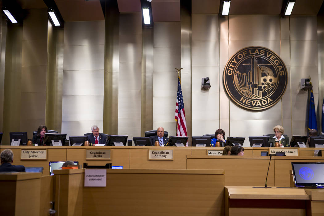 City council members prepare to vote about the Badlands golf course development at a City Council meeting at Las Vegas City Hall on Wednesday, August 2, 2017.  Patrick Connolly Las Vegas Review-Jo ...