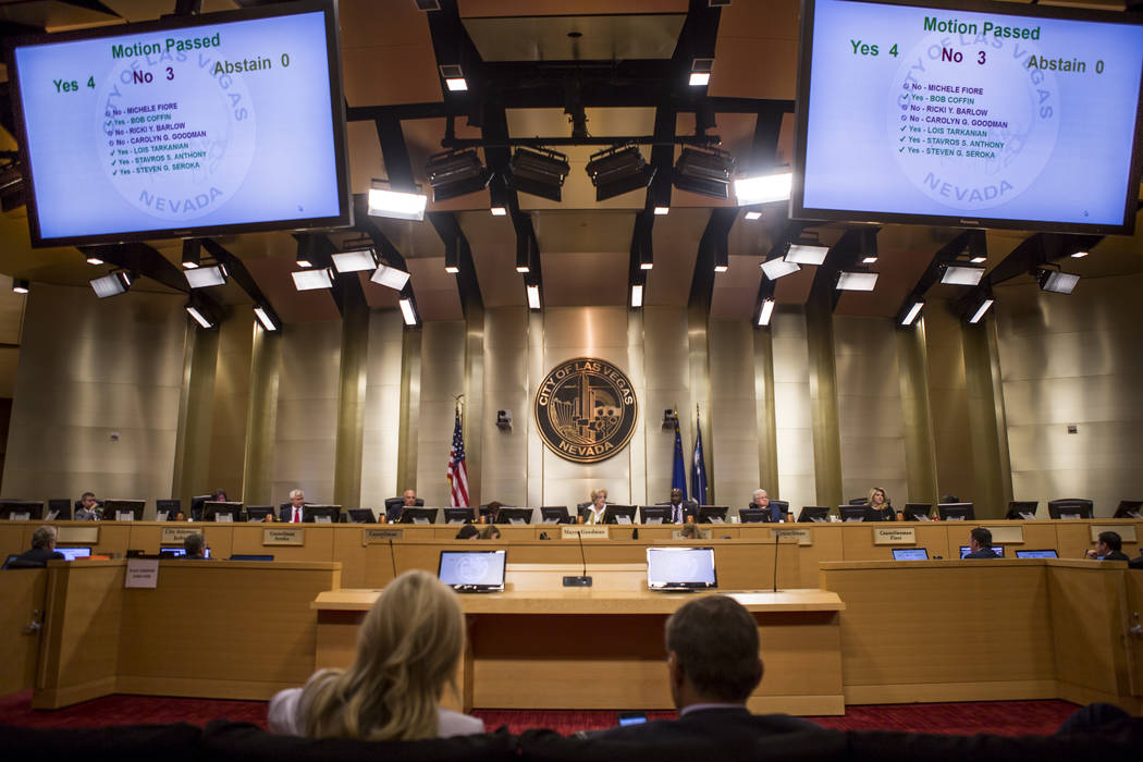 City council members vote to deny the development of the Badlands golf course at a City Council meeting at Las Vegas City Hall on Wednesday, August 2, 2017.  Patrick Connolly Las Vegas Review-Jour ...