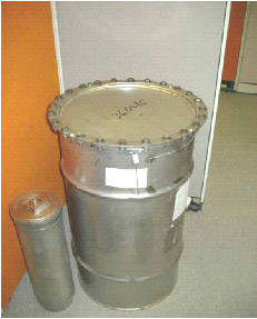 Containers used to ship and store plutonium like this one were used to improperly ship material by air to California and South Carolina in June. U.S. Department of Energy
