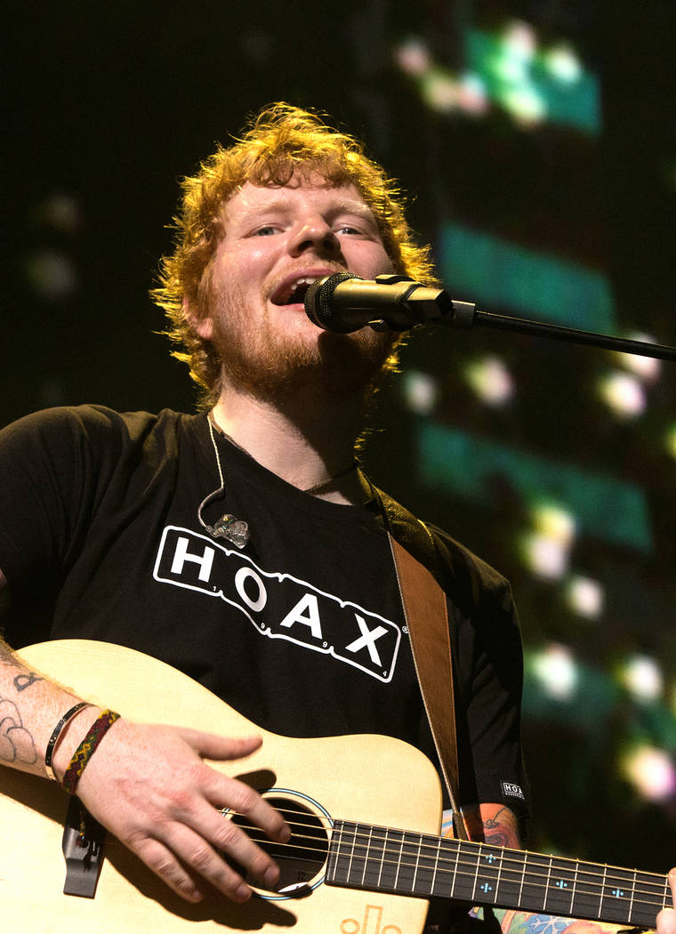 "Singer-songwriter Ed Sheeran performs in concert during his ""The ÷ Tour"" at The Wells Fargo Center on Tuesday, July 11, 2017, in Philadelphia. (Photo by Owen Sweeney/Invisio ..."