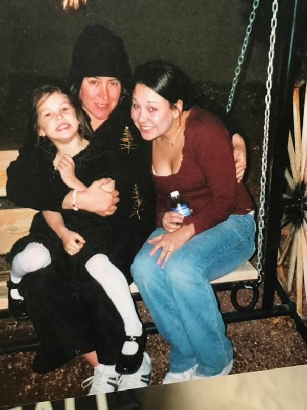 Haylei Hughes and her sister, Alexis Bisplinghoff, with their mother, Ashley Hughes, who died of advanced-stage leukemia in 2013. Courtesy of Alexis Bisplinghoff.
