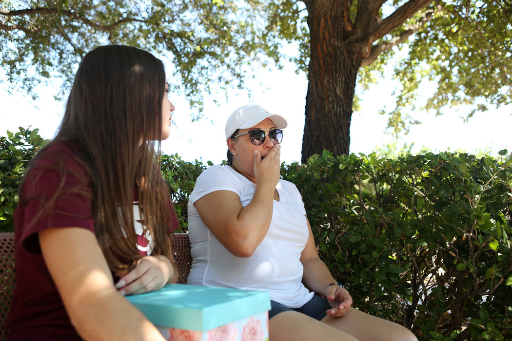 Allison Rogers, left, and Alexis Bisplinghoff, cousin and sister of Haylei Hughes, who died in hiking accident July 26 in Washington state, talk to a reporter during an interview at Trails Park in ...