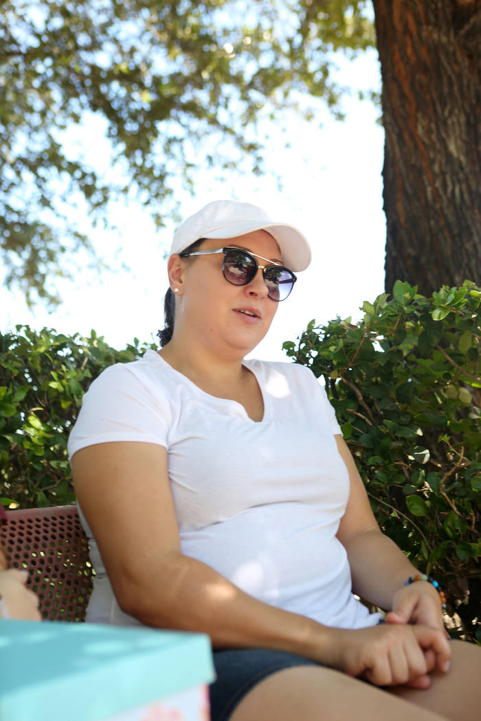 Alexis Bisplinghoff, sister of Haylei Hughes, who died in hiking accident July 26 in Washington state, talks to a reporter during an interview at Trails Park in Las Vegas, Tuesday, Aug. 1, 2017. E ...