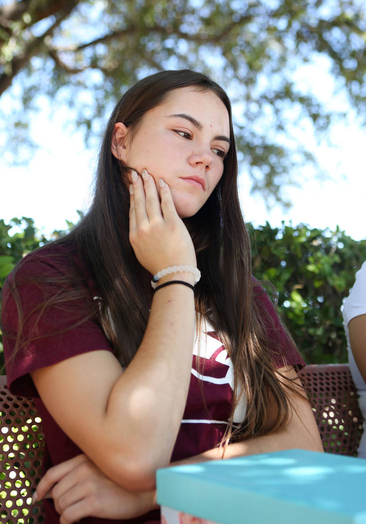 Allison Rogers, cousin of Haylei Hughes, who died in hiking accident July 26 in Washington state, talks to a reporter during an interview at Trails Park in Las Vegas, Tuesday, Aug. 1, 2017. Elizab ...