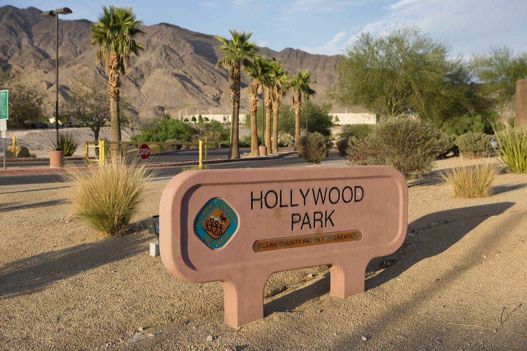 The sun sets on Hollywood Regional Park in Las Vegas on Tuesday, Aug. 1, 2017. Clark County commissioner Chris Giunchigliani says the regional county park has yet to be 100 percent completed. Brid ...