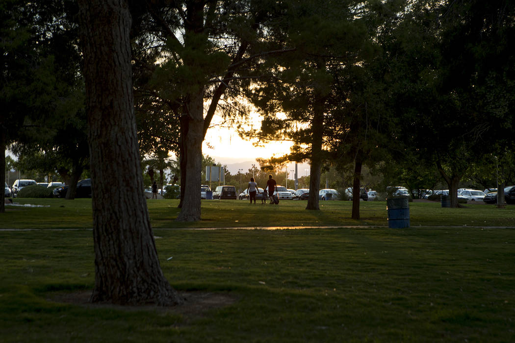 The sun sets at Sunset Park in Las Vegas on Tuesday, Aug. 1, 2017. Bridget Bennett Las Vegas Review-Journal @bridgetkbennett