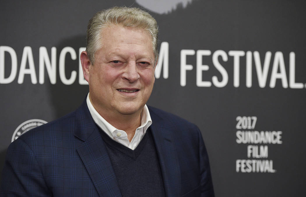"Former U.S. Vice President Al Gore poses at the premiere of the film ""An Inconvenient Sequel: Truth to Power"" at the Eccles Theater during the 2017 Sundance Film Festival on Thur ..."