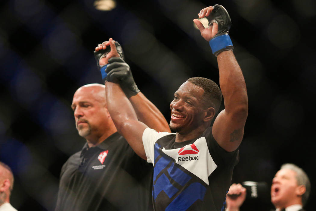 Will Brooks reacts to his unanimous decision win over Ross Pearson in The Ultimate Fighter 23 Finale at the MGM Grand Garden Arena in Las Vegas on Friday, July 8, 2016. Brett Le Blanc/Las Vegas Re ...