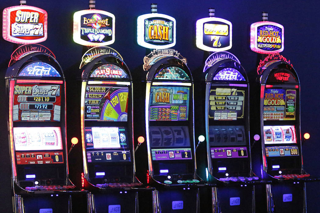 Slot machines on display in IGT's showroom at their Las Vegas headquarters, Friday, June 2, 2017. (Gabriella Benavidez/Las Vegas Review-Journal) @latina_ish