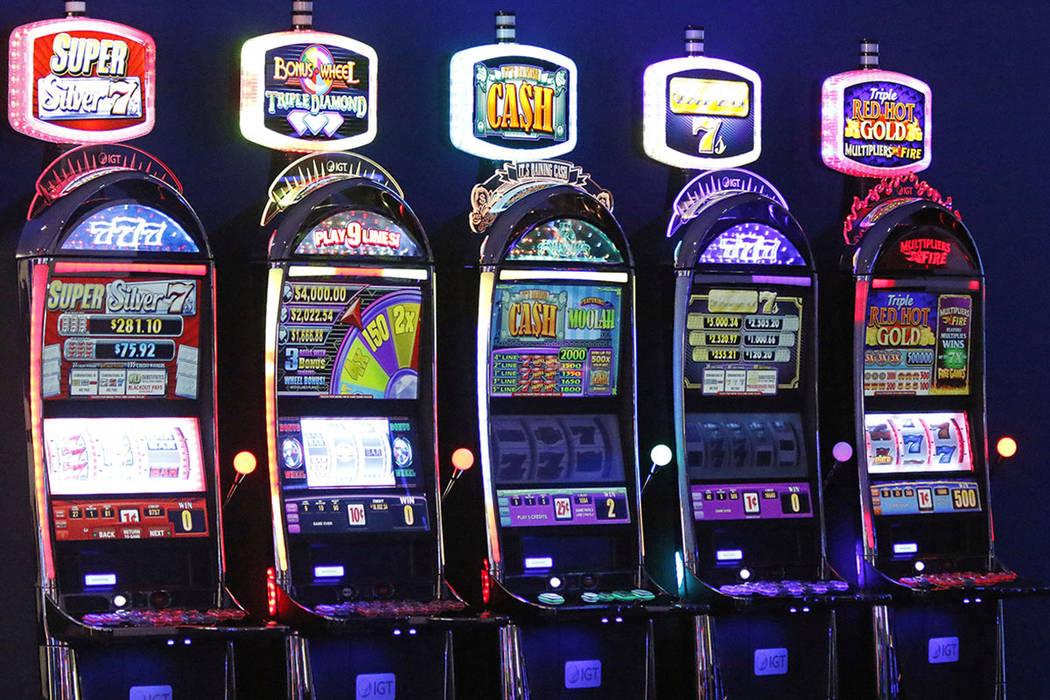 Slot machines on display in IGT's showroom at their Las Vegas headquarters, Friday, June 2, 2017. (Gabriella Benavidez/Las Vegas Review-Journal) @latina_ish