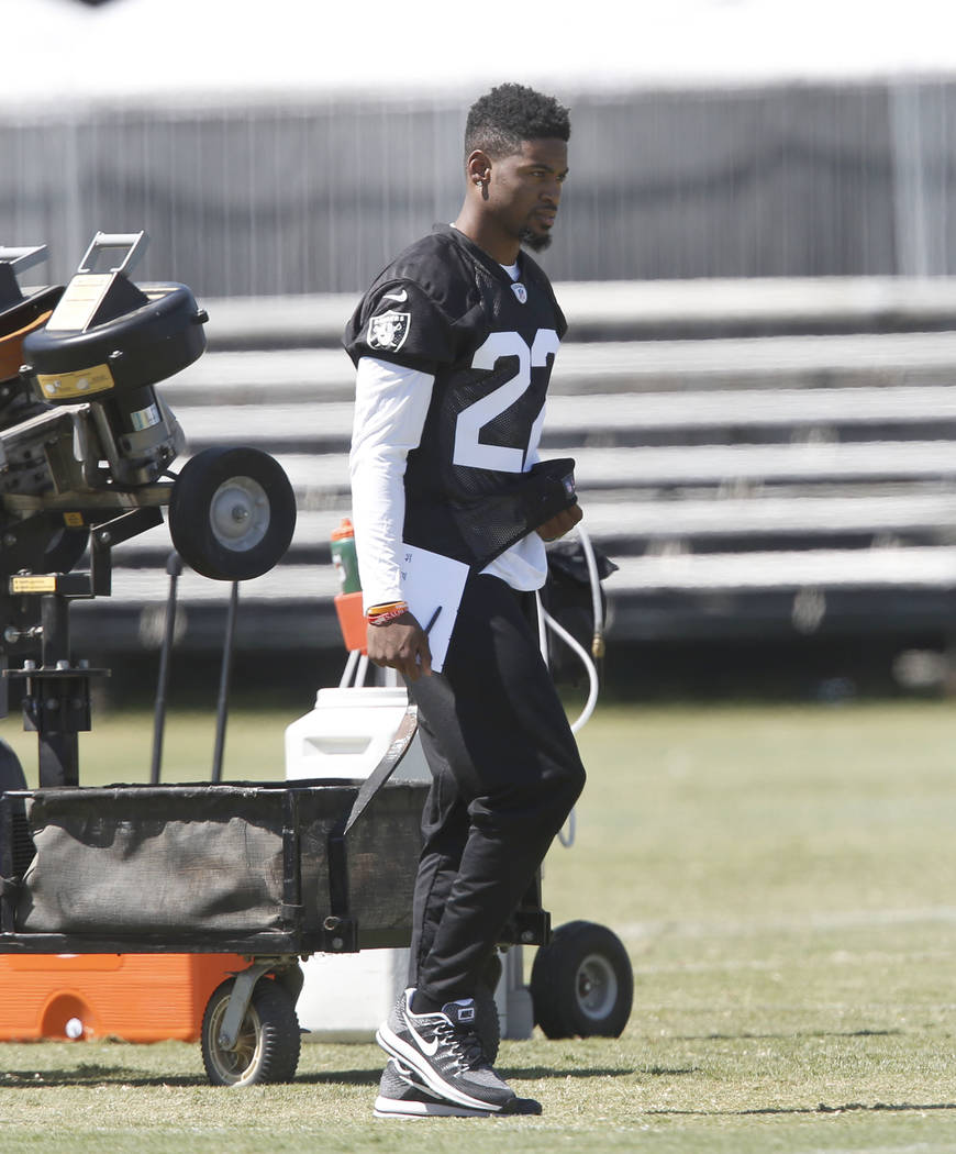 The Oakland Raiders cornerback Gareon Conley walks on the sideline during teams practice at Raiders Napa Valley training complex in Napa, Calif., on Monday, July 31, 2017. Bizuayehu Tesfaye Las Ve ...