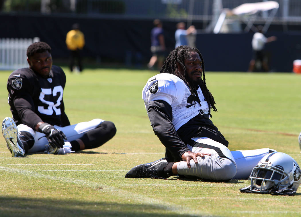 The Oakland Raiders running back Marshawn Lynch stretches during teams practice at Raiders Napa Valley training complex in Napa, Calif., on Tuesday, Aug. 1, 2017. Bizuayehu Tesfaye Las Vegas Revie ...