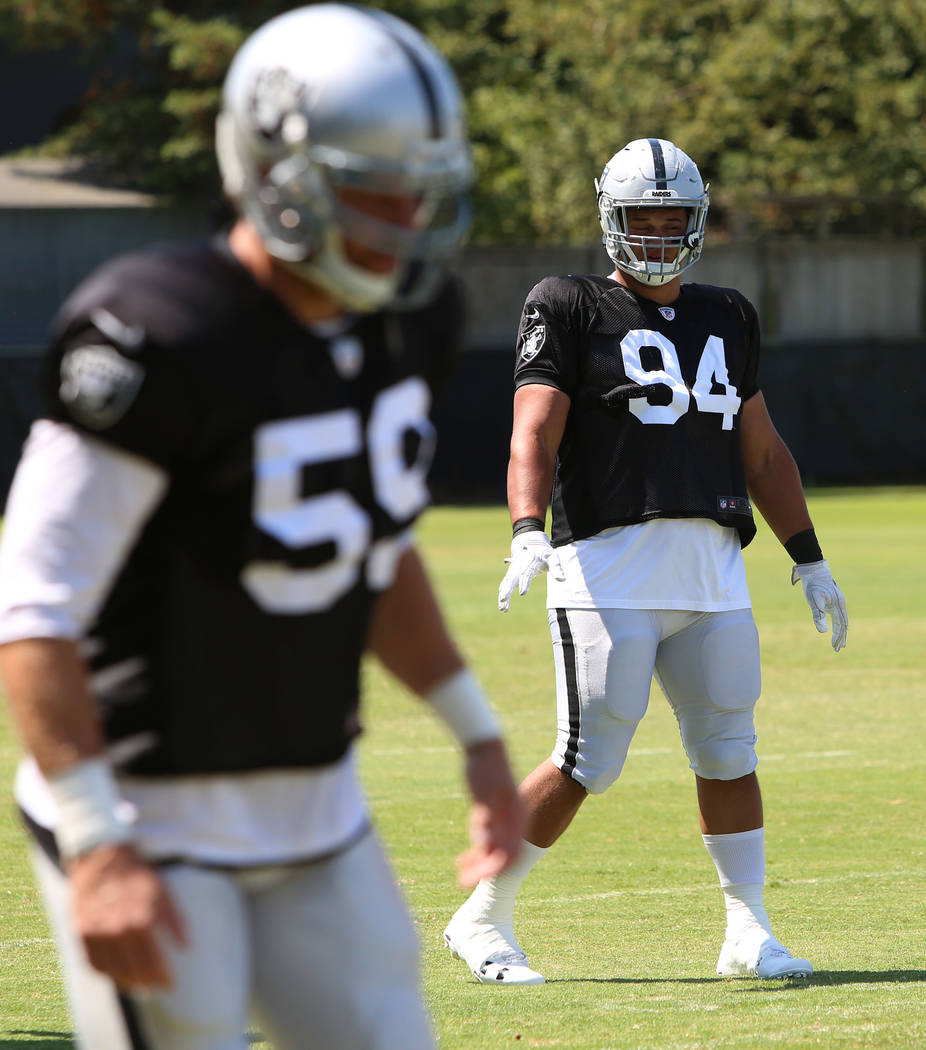 The Oakland Raiders defensive tackle Eddie Vanderdoes (94) during teams practice at Raiders Napa Valley training complex in Napa, Calif., on Tuesday, Aug. 1, 2017. Bizuayehu Tesfaye Las Vegas Revi ...