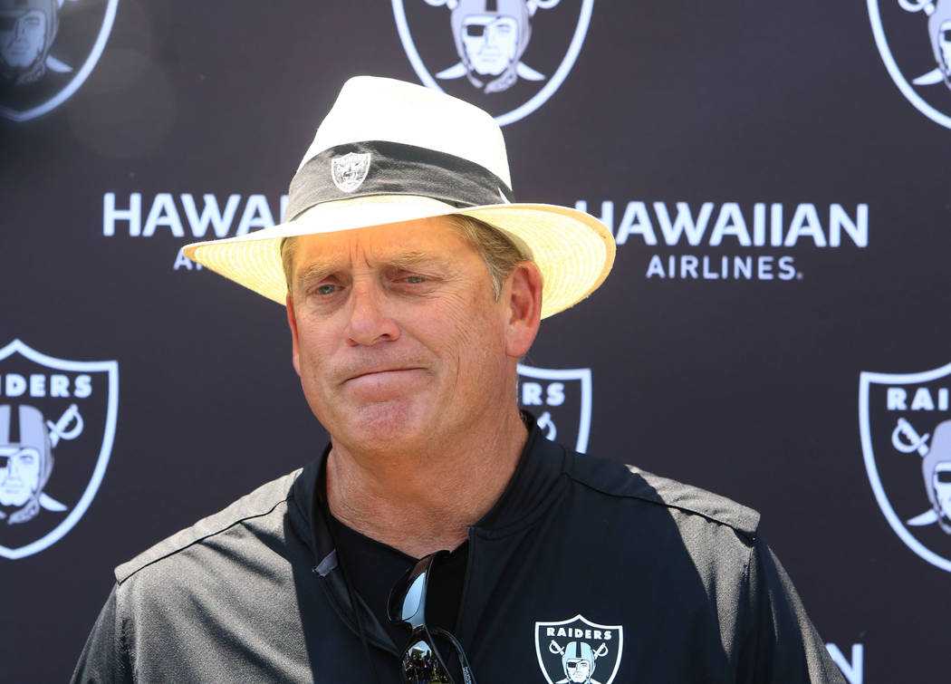 The Oakland Raiders head coach Jack Del Rio pauses as he speaks to reporters at Raiders Napa Valley training complex in Napa, Calif., on Tuesday, Aug. 1, 2017. Bizuayehu Tesfaye Las Vegas Review-J ...