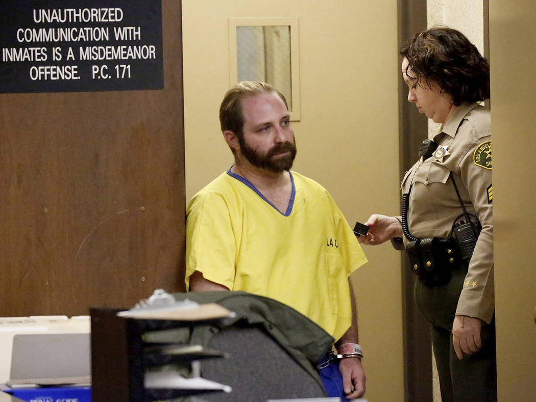 Aramazd Andressian Sr., accused in his 5-year-old son's death, enters the courtroom in Los Angeles County Superior Court in Alhambra Tuesday, Aug. 1, 2017. Andressian Sr. changed his plea in the k ...