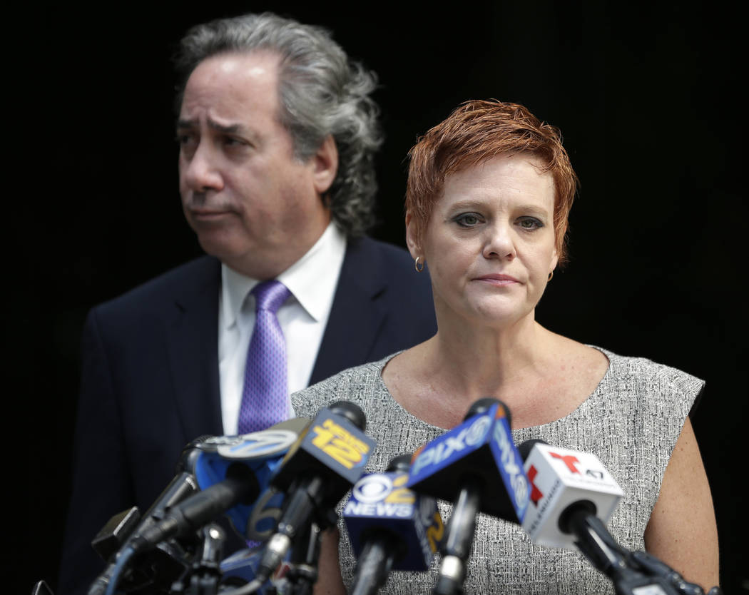 Dianne Grossman, mother of Mallory Grossman, speaks to reporters while her attorney Bruce Nagel looks on during a news conference in Roseland, N.J., Tuesday, Aug. 1, 2017. The New Jersey mother is ...