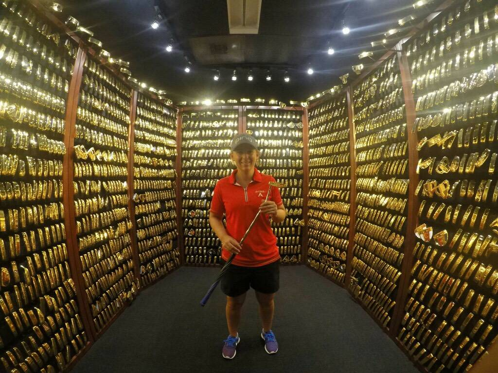 Former UNLV 4-time UNLV All-American and current LPGA Tour golfer Dana Finkelstein received her Ping gold putter last week and visited the Ping gold putter vault. Photo courtesy Dana Finkelstein.
