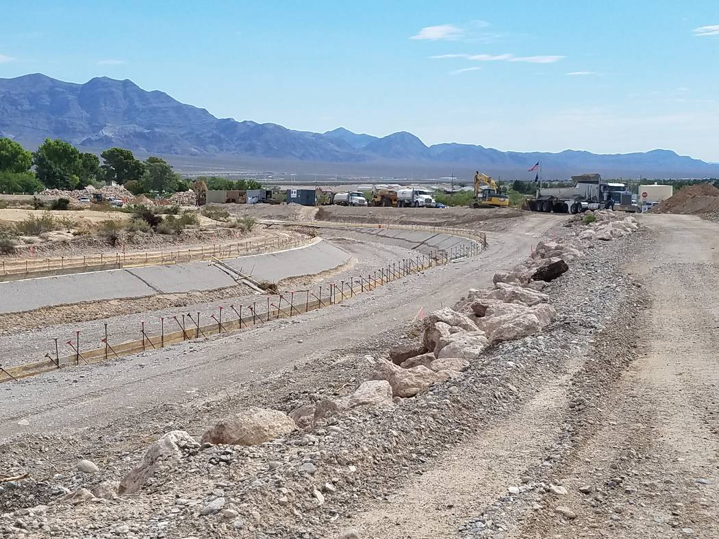 The Clark County Regional Flood Control tweeted photo on July 31, 2017 of the progress of the Brent Lane construction project after the storm. (Courtesy of Erin Neff/ Clark County Regional Flood D ...