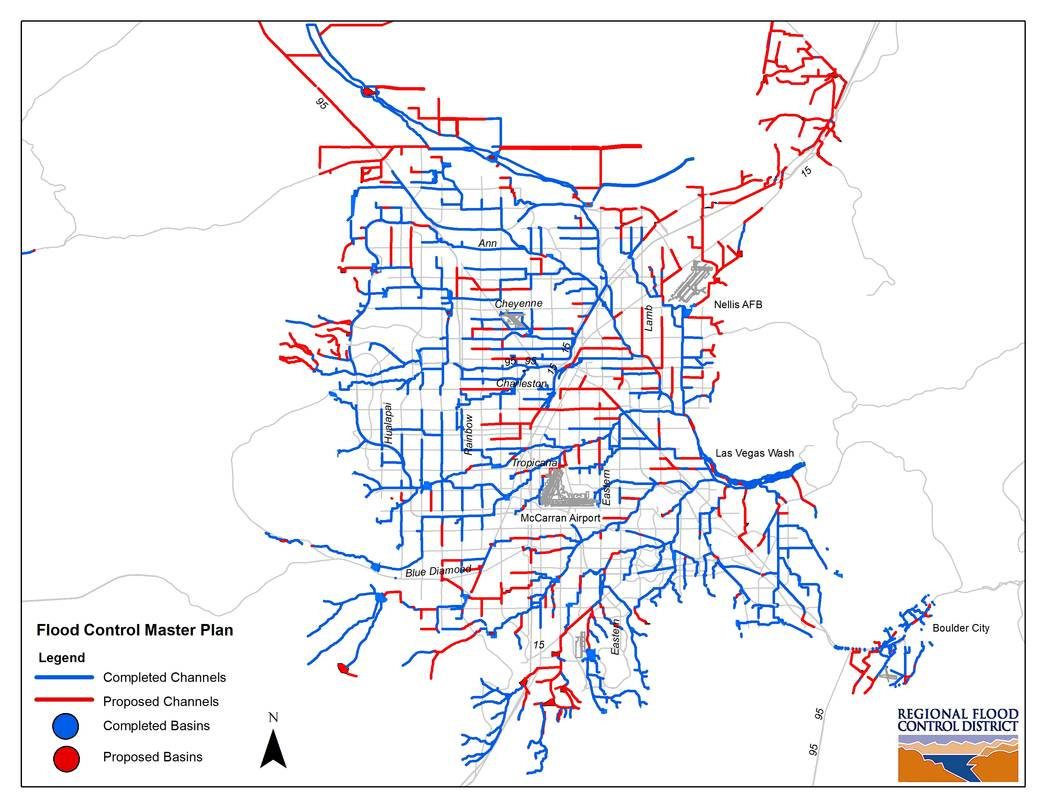 A map of the Clark County Regional Flood District's master plan. (Courtesy of Erin Neff/ Clark County Regional Flood District)