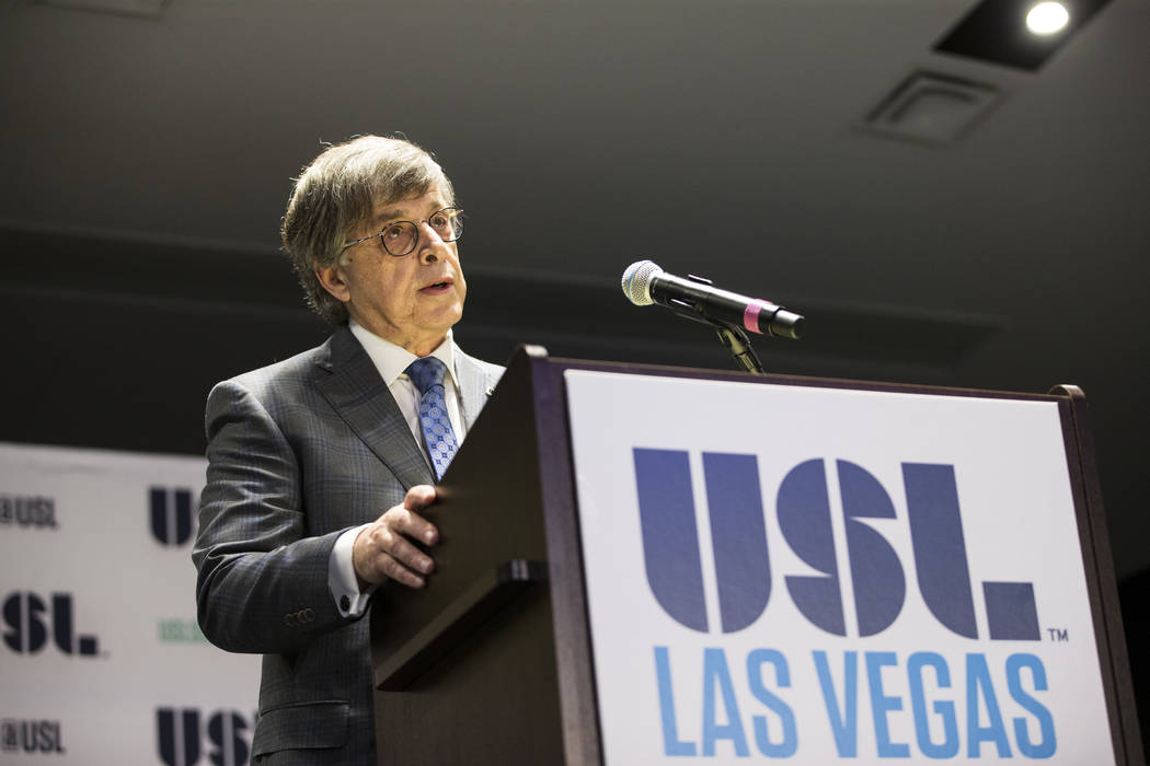 Alec Papadakis, CEO of the United Soccer League, during an USL event to celebrate the newest team from Las Vegas in the league at the Zappos campus in Las Vegas on Friday, Aug. 11, 2017. Erik Verd ...