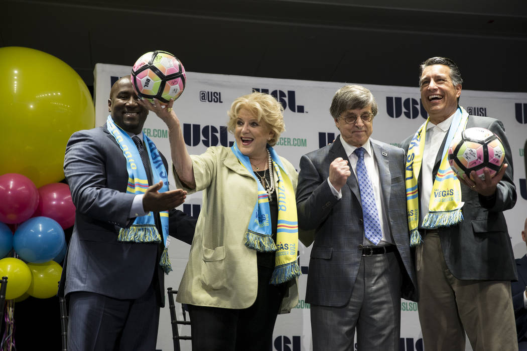 Las Vegas Councilman Ricki Barlow, from left, Mayor Carolyn Goodman, CEO of the United Soccer League Alec Papadakis, and Governor Brian Sandoval during an USL event to celebrate the newest team fr ...