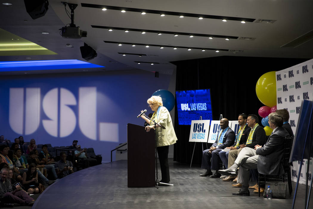 Mayor Carolyn Goodman during an United Soccer League event to celebrate the newest team from Las Vegas in the league at the Zappos campus in Las Vegas on Friday, Aug. 11, 2017. Erik Verduzco Las V ...