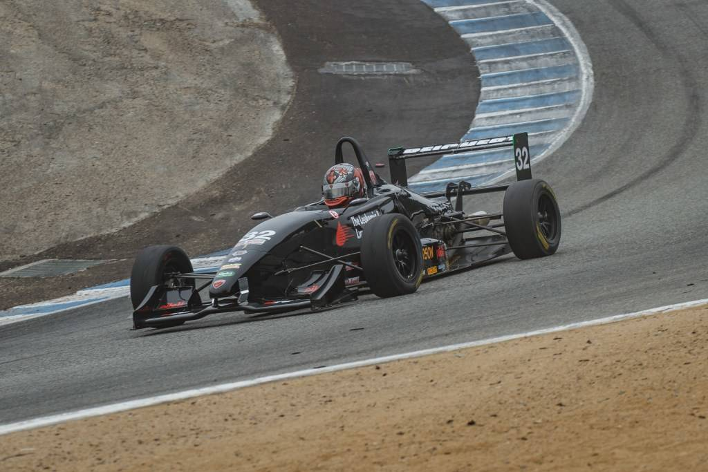 "Jason Reichert, a budding 17-year-old open-wheel driver from Las Vegas, negotiates the famous ""Corkscrew"" at Mazda Raceway Laguna Seca during a Pacific F2000 Series doubleheader August 5 and 6, 20 ..."
