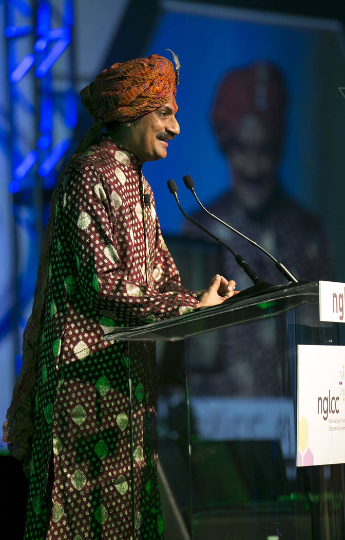 Openly gay Crown Prince Manvendra Singh Gohil of the state of Rajpipla in Gujarat, India speaks at a luncheon during the 15th annual NGLCC International Business and Leadership Conference at Caesa ...